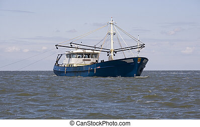 fishing boat - boat fishing in the waddenzee, netherlands