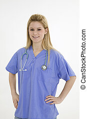 Female - Model Release 376 Young caucasian female nurse...