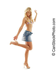 blond in denim skirt and bikini #2 - pretty blond in denim...