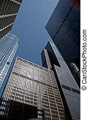 Chicago - A view looking up at the skyscrapers in the...