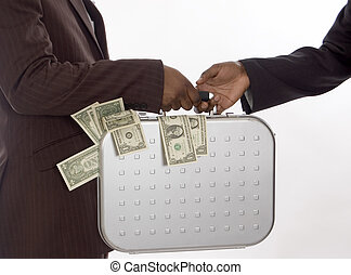 Rich Give Away - This is image of businessman making handing...