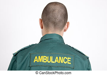 Ambulance - An ambulance driver shot with his back to the...