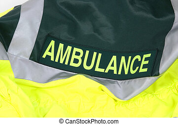 Ambulance - The rear of an Ambulance drivers high visibility...