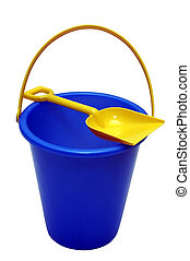 Sand Pail - Sand pail with shovel.  Clipping path.