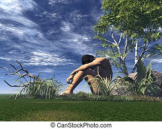 alone - lonely man on a green field - 3d illustration