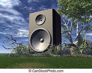 loud - big speaker on green field - 3d illustration
