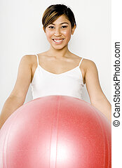 Woman Holding Fitball