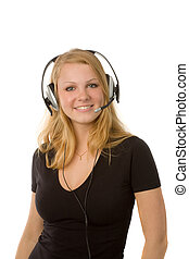 woman with headset - the lovely blonde woman with headset on...