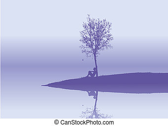 loneliness - lonely  woman sits under a tree