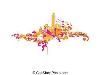 Big City - Grunge styled urban background illustration...