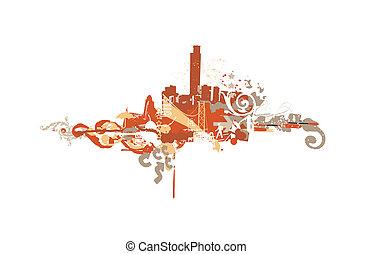 Big City - Grunge styled urban background. illustration....