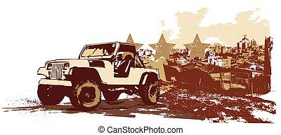 vintage military vehicle - illustration of stilyzed vintage...