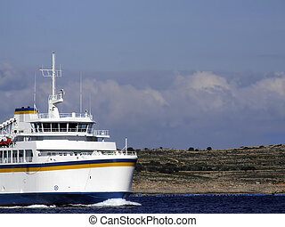 Ferry Boat - Passenger ship carrying cargo vehicles between...