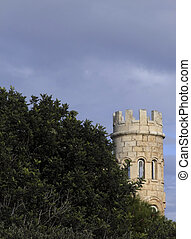 Castle Tower Behind Carob Tree - Medieval castle situated in...