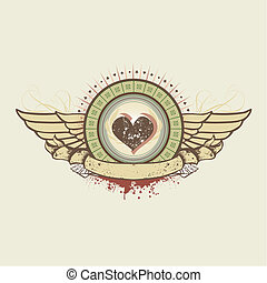 hearts suit emblem - illustration on a gambling subject....