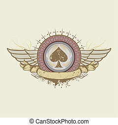 spades suit emblem - illustration on a gambling subject...