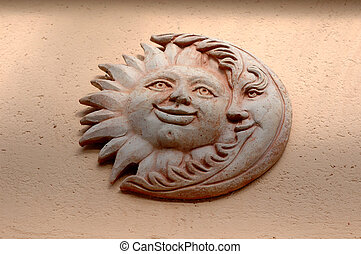 Sun and Moon - terracotta