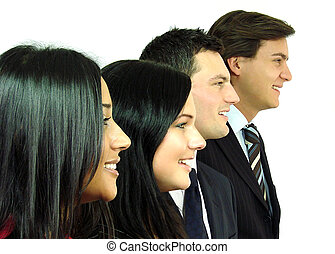 Business Team in Profile Standing in a row