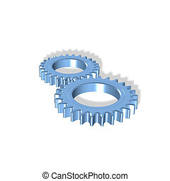 two gears - 3d gears illustration - partnership, teamwork,...