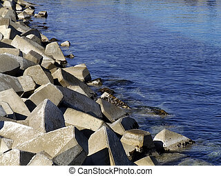 Breakwater Blocks - Concrete blocks used in construction of...