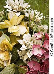 Fake Cloth Flowers at a 19th Century Grave - Delicate pink...