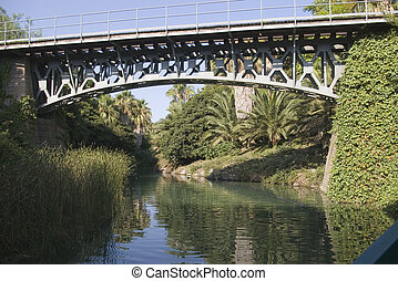 The railroad bridge - Railroad bridge in Spain for a steam...