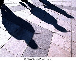 people\\\'s shadows - busy people\\\'s shadows