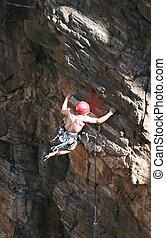 extremo, escalador, rocha
