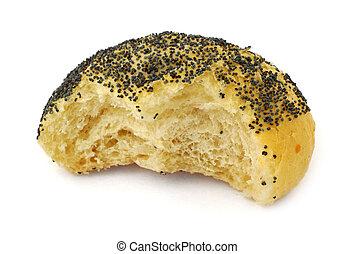 half-eaten bun - close-up of half-eaten poppy seed bun...
