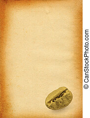 paper with coffee bean - sheet of old stained paper with...