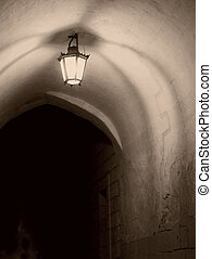 Medieval Archway by Night - Medieval archway by night, in...