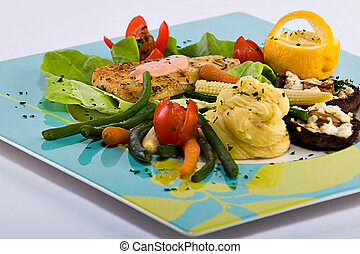 Fish and mushrooms - Fish and vegetables platter, food...