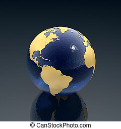 Planet earth - Our planet earth made of blue glass and gold...