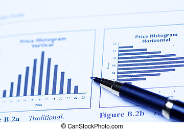 Investment analysis - An image of stock price histogram and...