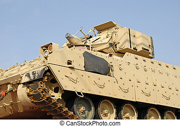 Military Tank - A military tank being shipped on a freight...