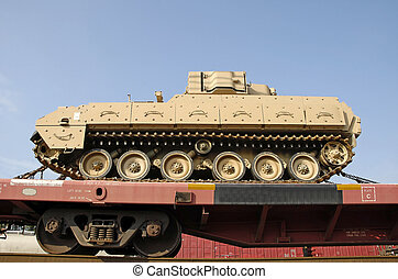 Tank loaded on railcar - A military tank loaded on a flat...