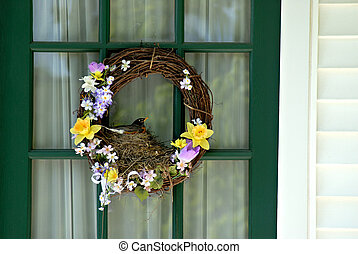 Nesting Robin in Wreath - A nesting robin in a decorative...