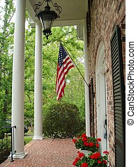 Colonnade American flag - American flag on Colonnade
