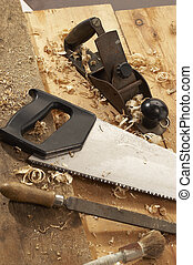 carpenters tools - set of carpenters tool on tne wood and...