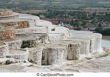 Landscape - Travertine pools and terraces, Pamukkale, Turkey