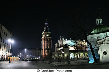 Krakow market square - Krakow at night. Beautiful Polish...