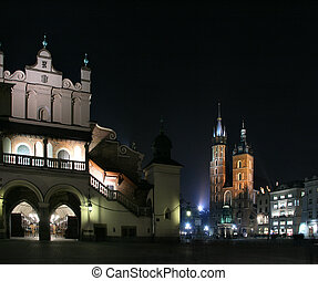 St. Mary\\\'s basilica - Krakow at night. Beautiful Polish...