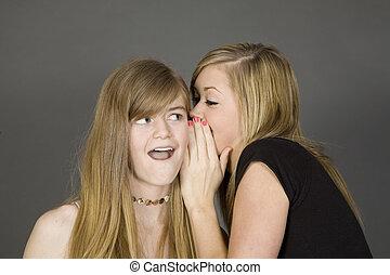 381 Teens - Teenage girls telling secrets posed in front of...