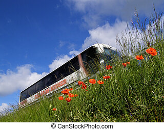 poppy, bus and motorway - Perspective shot of bus on...