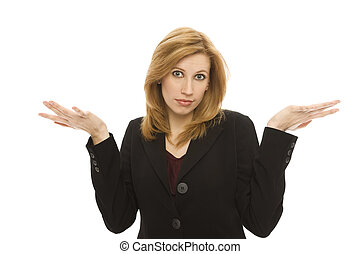 Businesswoman gestures confusion with her hands