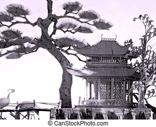 japanese garden - black and white of image of asian culture...