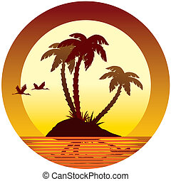 Tropical island - Tropical vacation: sunset, island, palms...