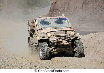Rally in the Desert - Jeep in an Offroad Race