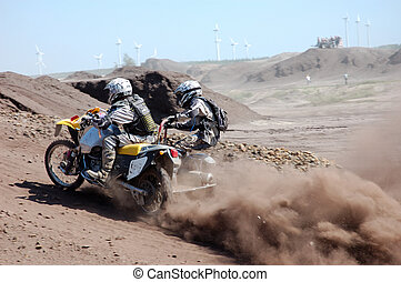 motocross racer - Motorbike with a sidecar in offroad action