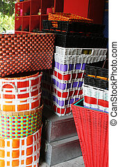 Baskets - Colorful cane baskets